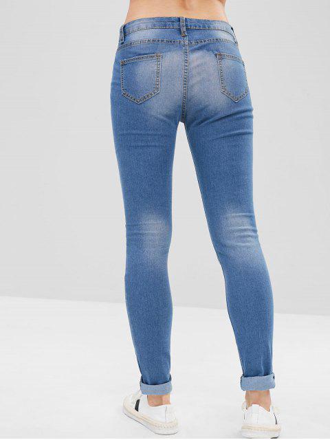 Jeans ajustados desgastados - Azul Denim XL Mobile
