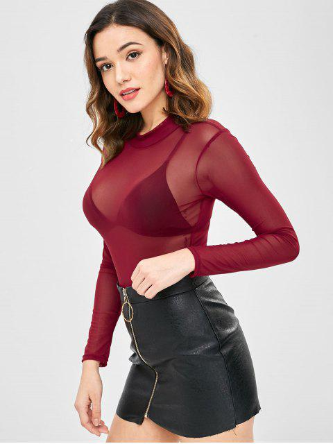 outfits ZAFUL Slim Fit See Through Top - RED WINE ONE SIZE Mobile