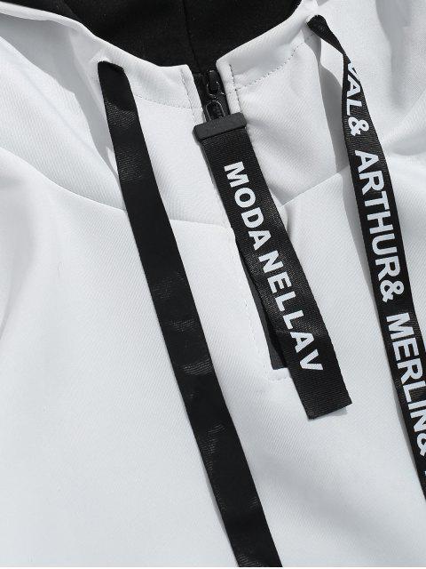 lady Contrast Hoodie Sweatpants Suit - WHITE L Mobile
