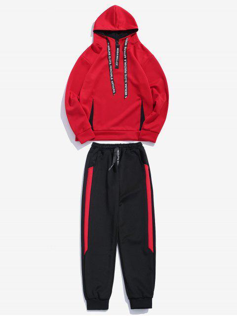 Costume de survêtement à capuche contrastante - Rouge S Mobile