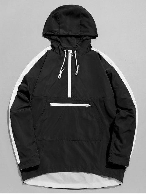 fancy Kangaroo Pocket Hit Color Hoodie - BLACK L Mobile