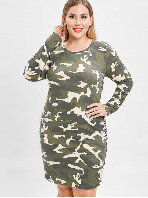 sale ZAFUL Camo Plus Size Slit Tee Dress - ACU CAMOUFLAGE 1X Mobile
