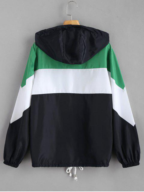 outfit Color Block Zip Up Hooded Jacket - MULTI M Mobile