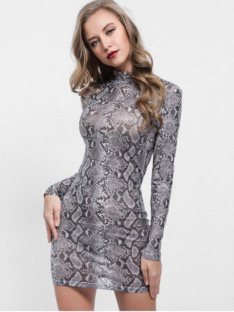 fashion Mock Neck Snakeskin Print Bodycon Dress - MULTI S Mobile