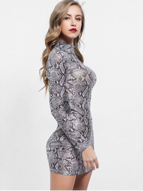 buy Mock Neck Snakeskin Print Bodycon Dress - MULTI M Mobile