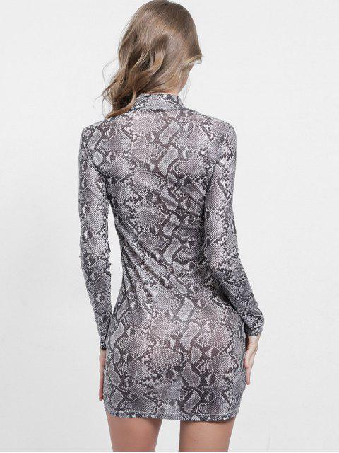 women's Mock Neck Snakeskin Print Bodycon Dress - MULTI L Mobile