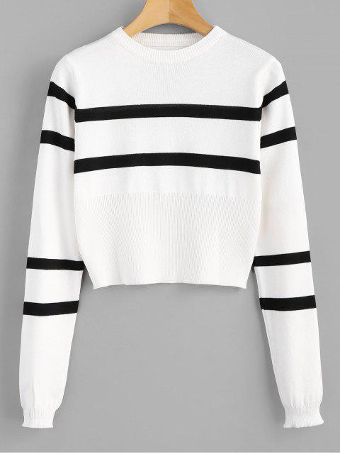 Kurzer Pullover mit Rundhalsausschnitt - Weiß Eine Größe Mobile