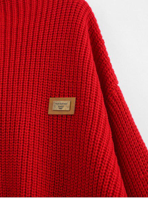 Suéter pulido de parches de Chevron extragrandes - Rojo Lava Talla única Mobile