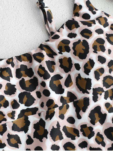 trendy ZAFUL Leopard One-piece Swimsuit with Hair Band - MULTI L Mobile