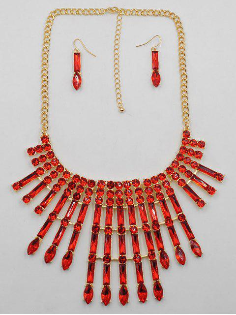 shop Rhinestone Decor Statement Necklace Earrings Set - RED  Mobile