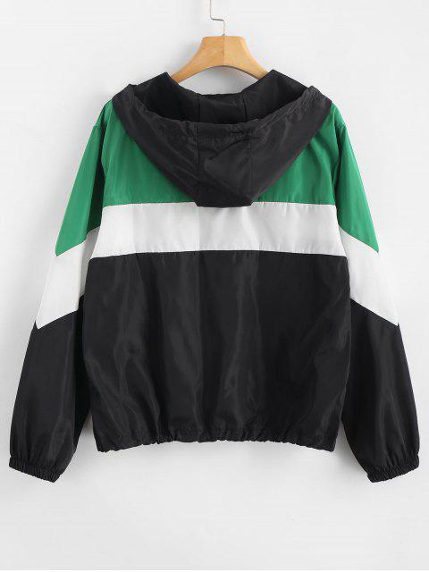 sale Zip Up Color Block Windbreaker Jacket - MULTI XL Mobile
