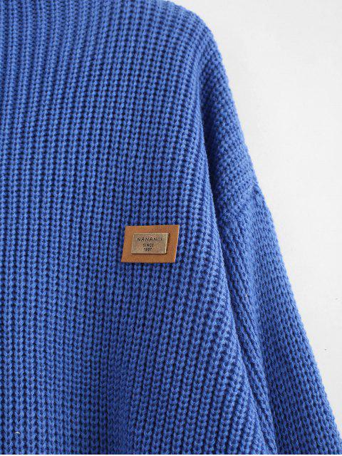 chic ZAFUL Oversized Chevron Patches Pullover Sweater - SILK BLUE ONE SIZE Mobile