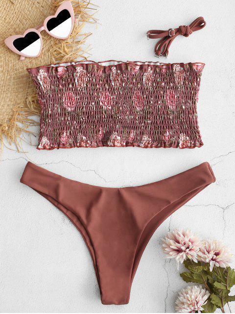 trendy ZAFUL Floral Smocked Bandeau Bikini Set - SEPIA L Mobile