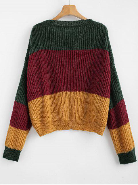 outfit ZAFUL Oversized Stripes Sweater - MULTI-A ONE SIZE Mobile