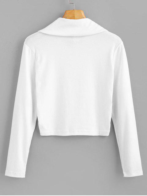 unique Long Sleeve Quarter Zip Cropped Tee - WHITE M Mobile
