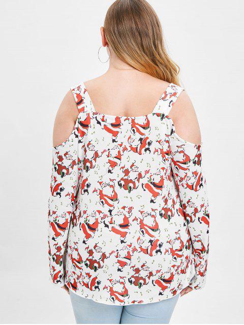 Christmas Plus Size Cold Shoulder Santa Claus Print T-shirt - 紅 1X Mobile