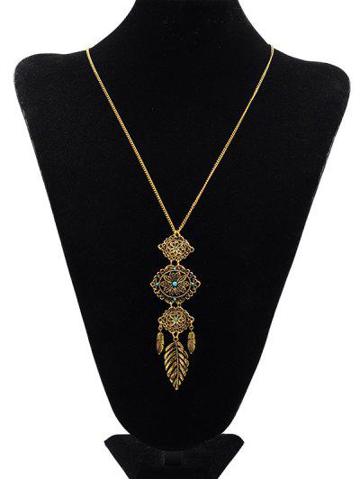 Floral Design Pendant Sweater Necklace - Gold