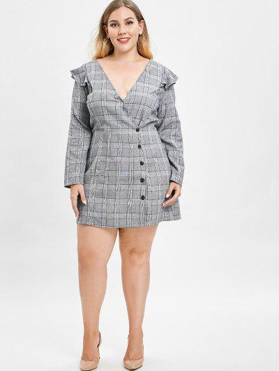 ZAFUL Plus Size Plaid Dress with Ruffles, Gray