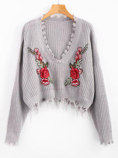 V Neck Frayed Floral Embroidered Pullover Sweater - Gray c925070b8