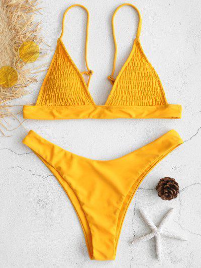 1cd72ed695 ZAFUL Shirred High Cut Bikini Set - Mustard M