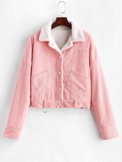 Fleece Drop Shoulder Corduroy Jacket - Pink S