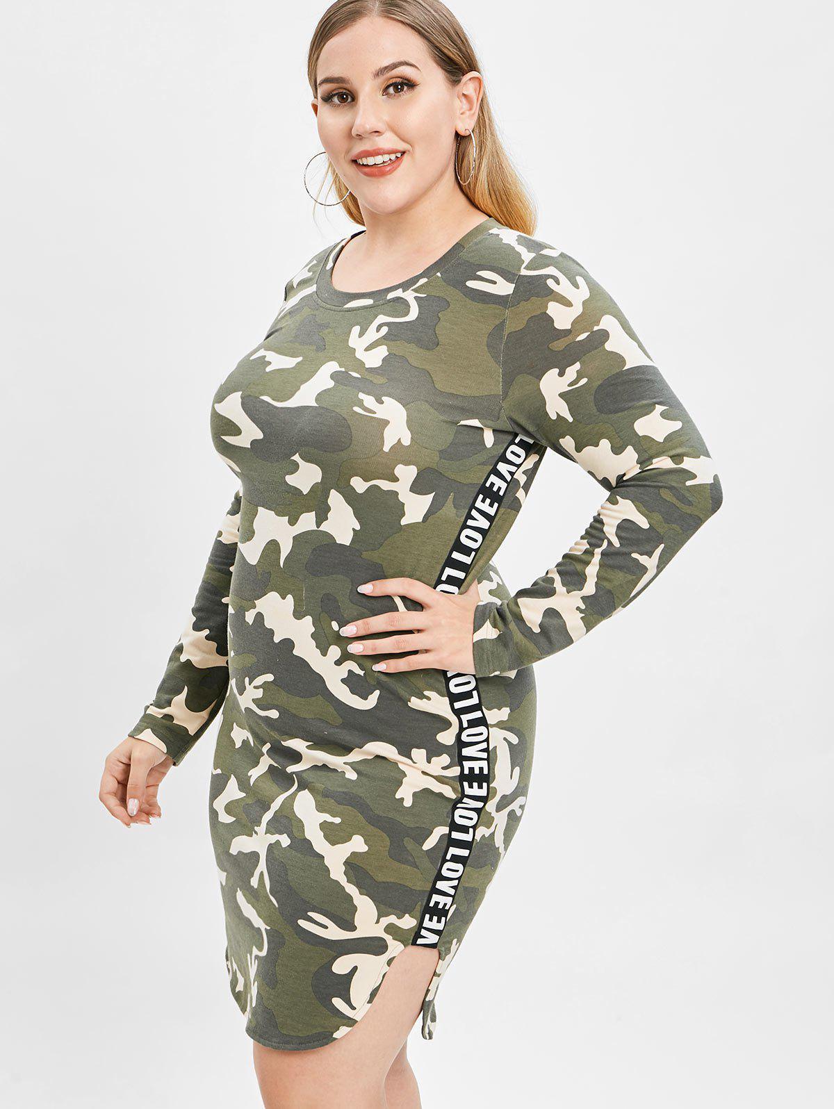 ZAFUL Camo Plus Size Slit Tee Dress