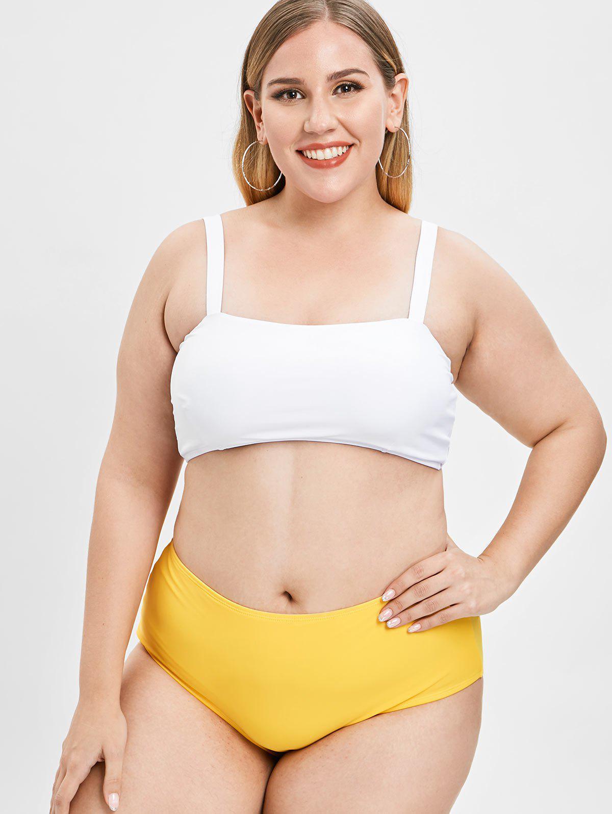 Padded Plus Size High Waisted Bikini Set, Bee yellow