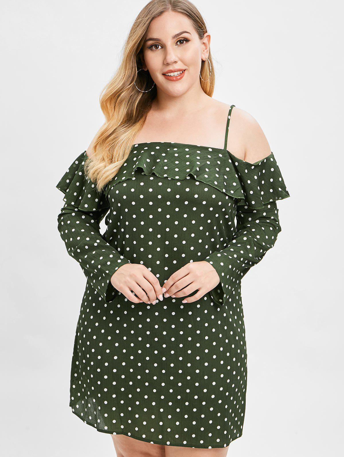 ZAFUL Polka Dot Plus Size Ruffled Dress, Dark forest green