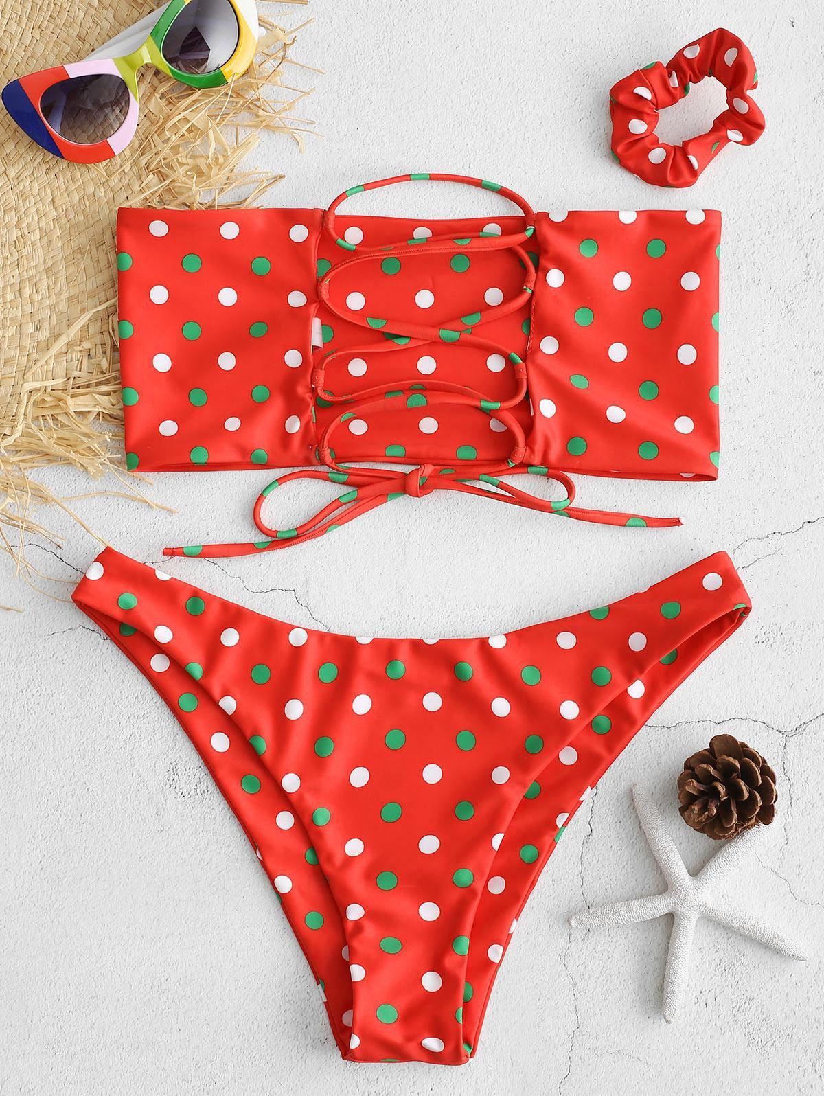 ZAFUL Lace-up Polka Dot Bikini with Hair Band, Red