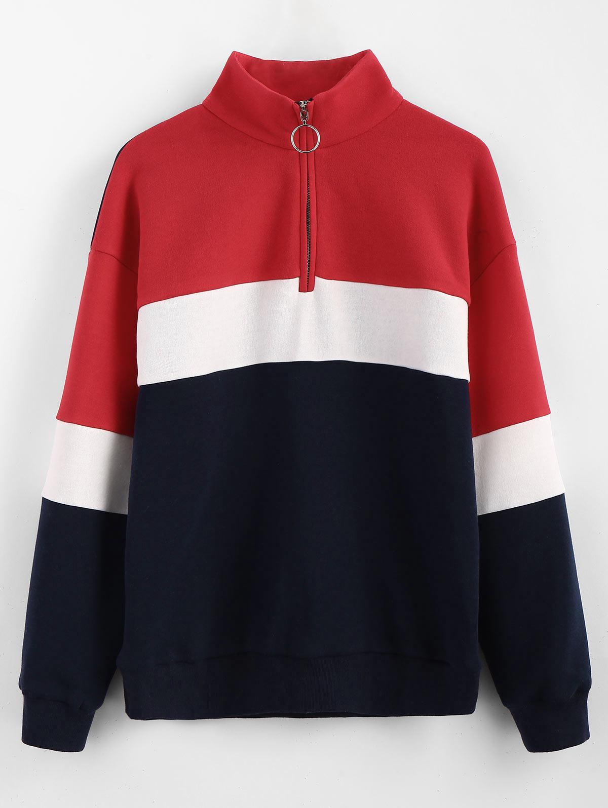 ZAFUL Half Zip Color Block Sweatshirt фото