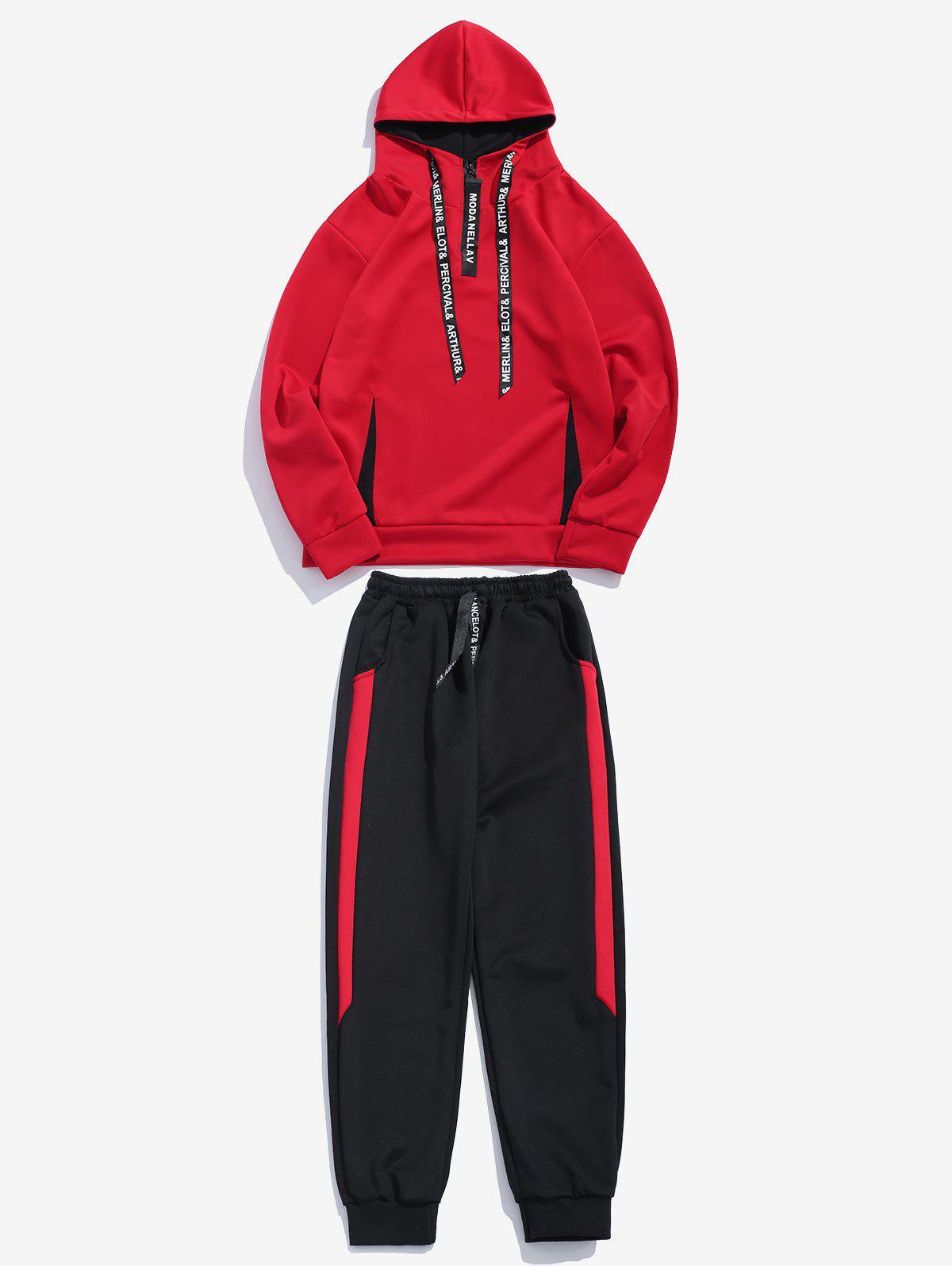 Contrast Hoodie Sweatpants Suit, Red