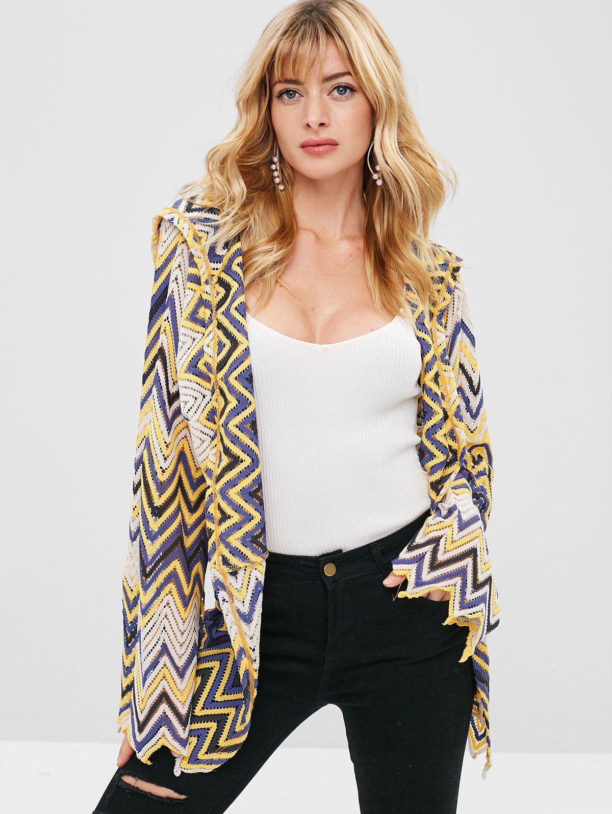 ZAFUL Hollow Out Zigzag Hooded Cardigan, Multi