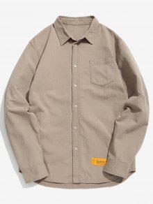 الكوع المرقعة الصدر قميص جيب - كاكي Xl