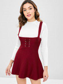 f859d17c2a16 36% OFF  2019 Lace Up Sweater Skater Dress In RED WINE