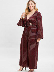 f45d752cede 69% OFF  2019 ZAFUL Striped Plus Size Blouse And Pants Set In RED ...