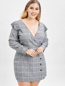 ZAFUL بالاضافة الى حجم ثوب منقوش مع الكشكشة - اللون الرمادي 3x
