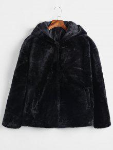 زر المفاجئة مقنع معطف فو الفراء - أسود L