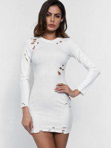 اكمام طويلة ممزق اللباس Bodycon - أبيض L