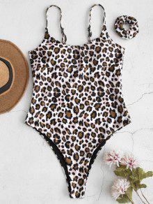 ZAFUL ليوبارد ملابس السباحة قطعة واحدة مع فرقة الشعر - متعدد L