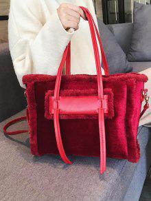 ab91e0f0dbe1 2019 Solid Color Fluffy Leather Design Shoulder Bag In RED WINE