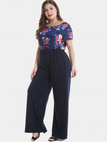 95ec5e03853 NEW  2018 Floral Plus Size Wide Leg Jumpsuit In MIDNIGHT BLUE 4X