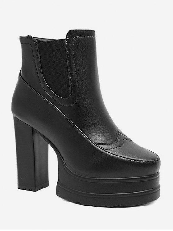 chic Platform Chunky High Heel Chelsea Boots - BLACK EU 36