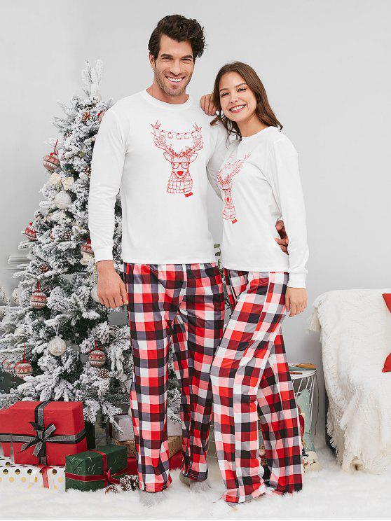 febf9f85c1691 44% OFF  2019 Reindeer Print Plaid Christmas Couple Pajamas In WHITE ...
