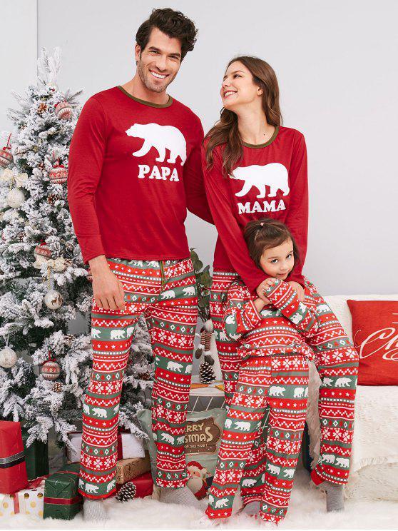 Bär geometrische Familie Weihnachten Pyjama Set - Rot Vater L