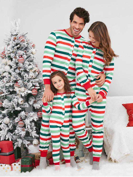 Pyjama de famille à rayures demi-boutons - Multi 8T