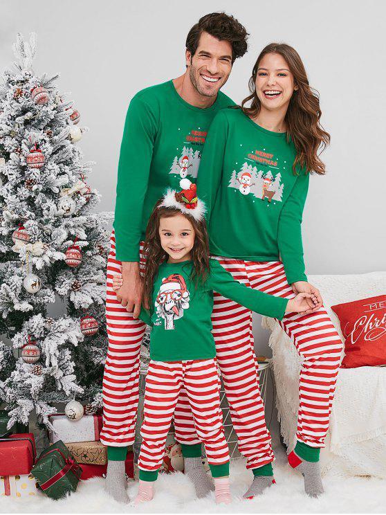 outfits Snowman Deer Print Christmas Family Pajamas - GREEN DAD M