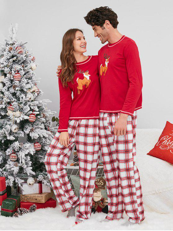 Christmas Pajamas 2019 47% OFF] 2019 Plaid Reindeer Print Christmas Couple Pajamas In RED