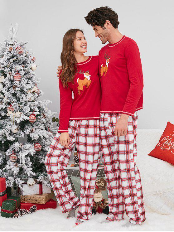 Christmas Pajamas.Plaid Reindeer Print Christmas Couple Pajamas