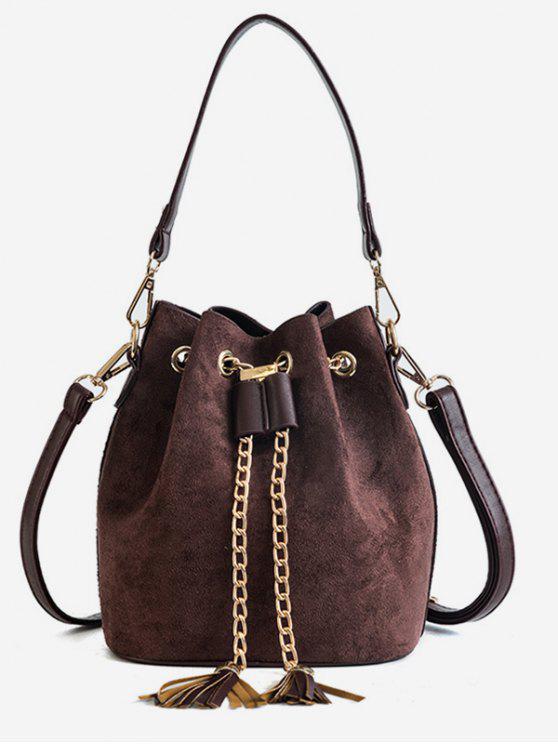 outfit Mini Tassel Design Bucket Crossbody Bag - COFFEE