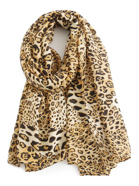 shops Stylish Leopard Pattern SIlky Long Scarf - TAN